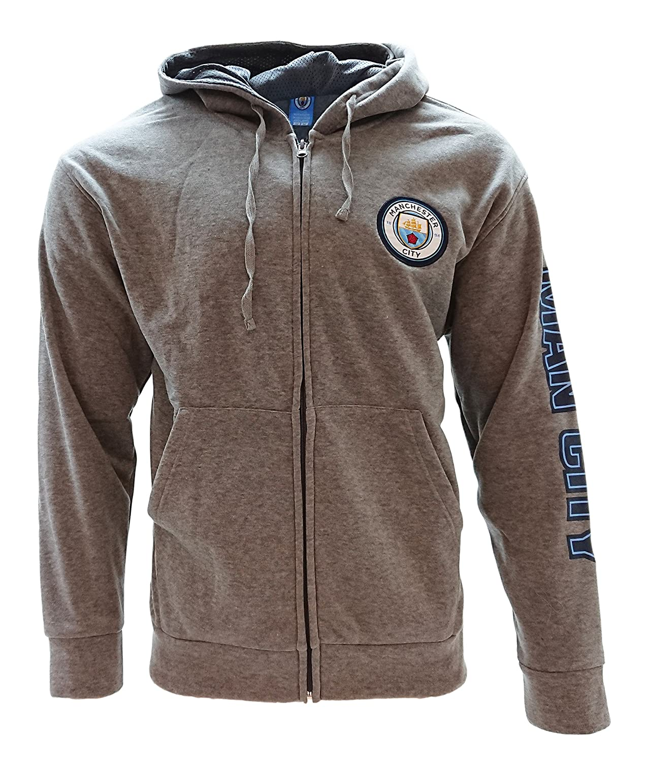 Icon Sports Manchester City Zip Up Track Jacket Hoodie Men Gray Official Licensed