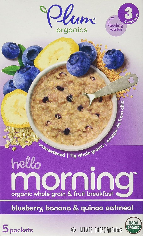 Hola mañana, arándano, plátano, harina de avena y quinua, 5 paquetes - Plum Organics: Amazon.es: Alimentación y bebidas