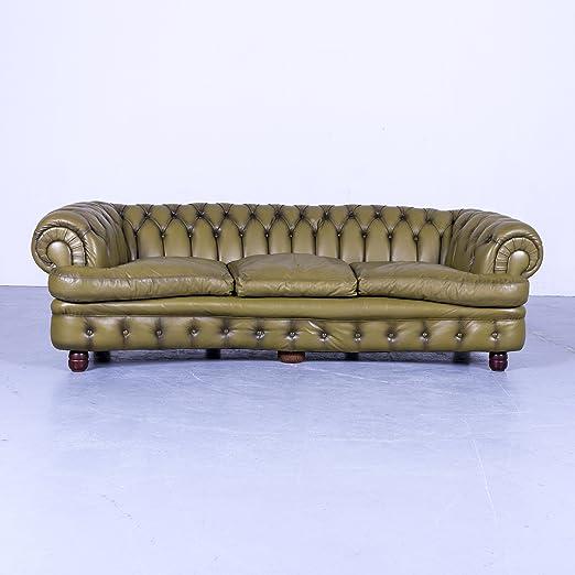 Chesterfield - Sofá verde piel Tres Plazas sofá vintage ...