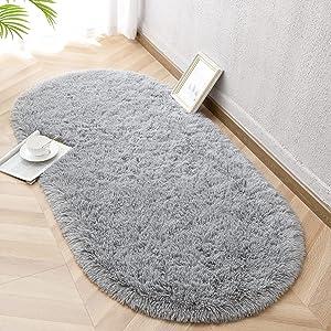 Vasofe Fluffy Rugs for Bedroom Living Room,Shaggy Oval Rug for Kids Room Cute Room Decor for Baby,Fuzzy Carpet for Teen's Girls Dorm Room Nursery Room 2.6 x 5.3 Feet Grey