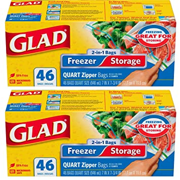 Glad Food Storage and Freezer 2 in 1 Zipper Bags - Quart - 46 Count, 2-Pack