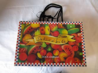 DOLCE AND GABBANA D&G PIAZZALE CADORNA 3 GIFT BAG CHECKERBOARD / FRUIT PRINT 14