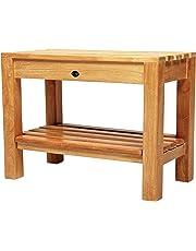 Arb Teak & Specialties Coach Teak Shower Bench with Shelf, 23.5 Inch