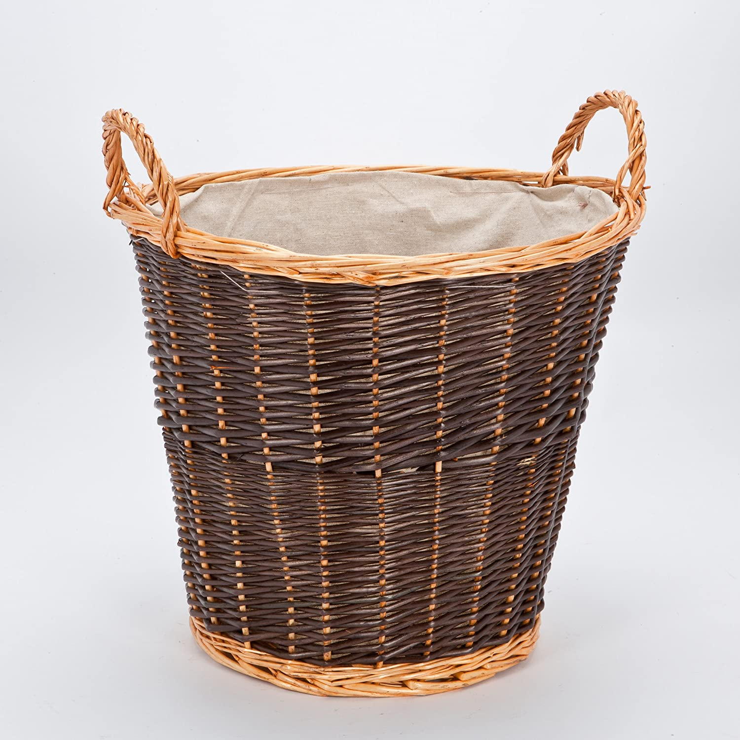 RUSTIC Circular Wicker Log Basket with Fixed Lining LHS