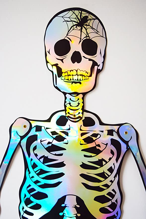 Set Of 4 XL Giant 141cm Jointed Skeleton Hanging Wall Halloween Decorations