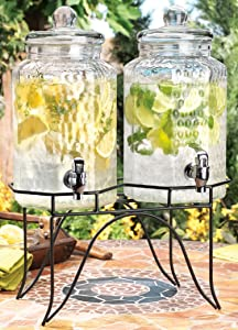 Home Essentials 1842 Del Sol Hammered Jug Beverage Dispenser with Rack, Set of 2, 10lb, Clear