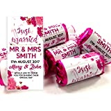 Personalised Mini Love Hearts Wedding Favours Just Married for Guests Gift Thank You Table Favours. Each roll Contains 7 Individual Sweets Suitable for Vegetarians (40)