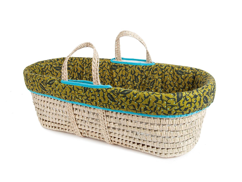 Tadpoles Line Stitched Moses Basket and Bedding Set Grey