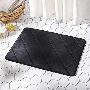 "SoHome Soft Step Luxury Memory Foam Bath Mat, Super Absorbent Non Slip Cozy Bath Rug, Machine Washable and Easy Dry, 22"" x 36"", Black"