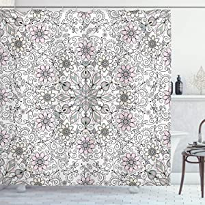 "Ambesonne Ethnic Shower Curtain, Vintage Abstract Flower Swirls Leaves Doily Style Pastel, Cloth Fabric Bathroom Decor Set with Hooks, 70"" Long, Pink Grey"