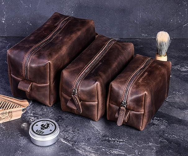 2611c89c078a Mens Travel Bag Set of 3 Leather Dopp Kit Mens Toiletry Travel Bag Genuine  Leather Organizer