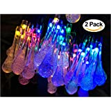 2 Pack Solar Strings Lights, Lemontec 20 Feet 30 LED Water Drop Solar Fairy Lights, Waterproof Lights for Garden, Patio, Yard, Home, Parties- Multi Color