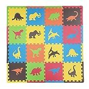 Tadpoles Soft EVA Foam 16pc Playmat Set, Dino, Multi/Primary, 50 x50