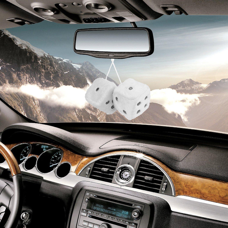 Auto Fuzzy-W/ürfel,7,6 cm Paar Retro Spiegel quadratisch h/ängenden W/ürfel des Autos Paar Fuzzy Pl/üsch W/ürfel mit Punkten f/ür Auto innen Ornament Dekoration