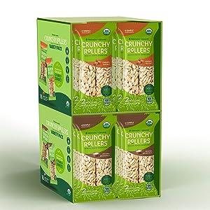 Friendly Grains - Crunchy Rollers – Organic Rice Snacks - Brown Rice & Caramel Sea Salt (16 packs of 2)