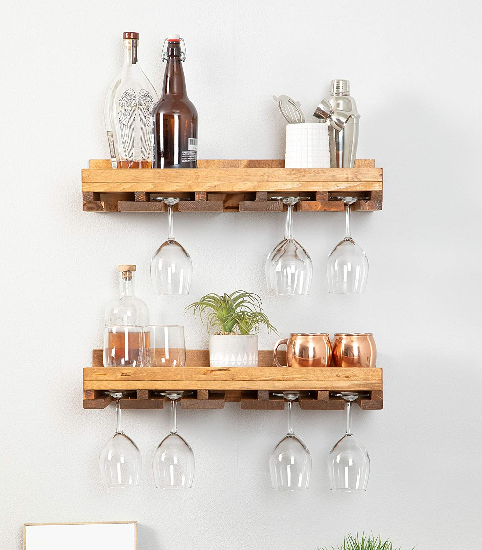 del hutson designs rustic wooden wall mounted handmade tiered wine glass racks walnut 24 inch