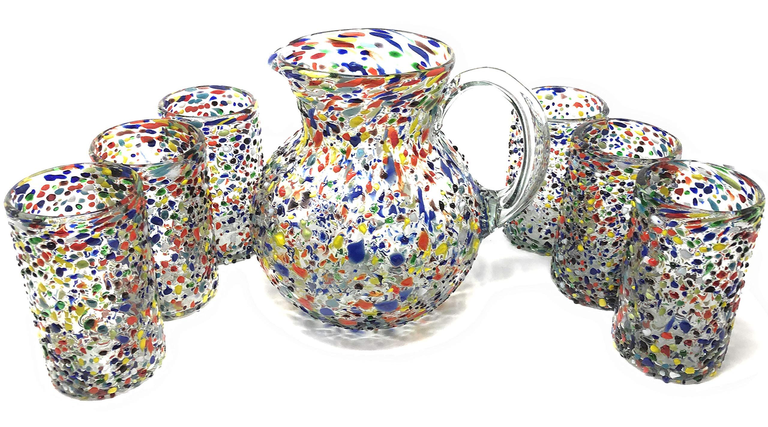 Mexican Hand Blown Glass Drinkware Set - Includes 84oz Pitcher and 6 Blown Drinking Glasses (14oz) - Confetti Rock Design