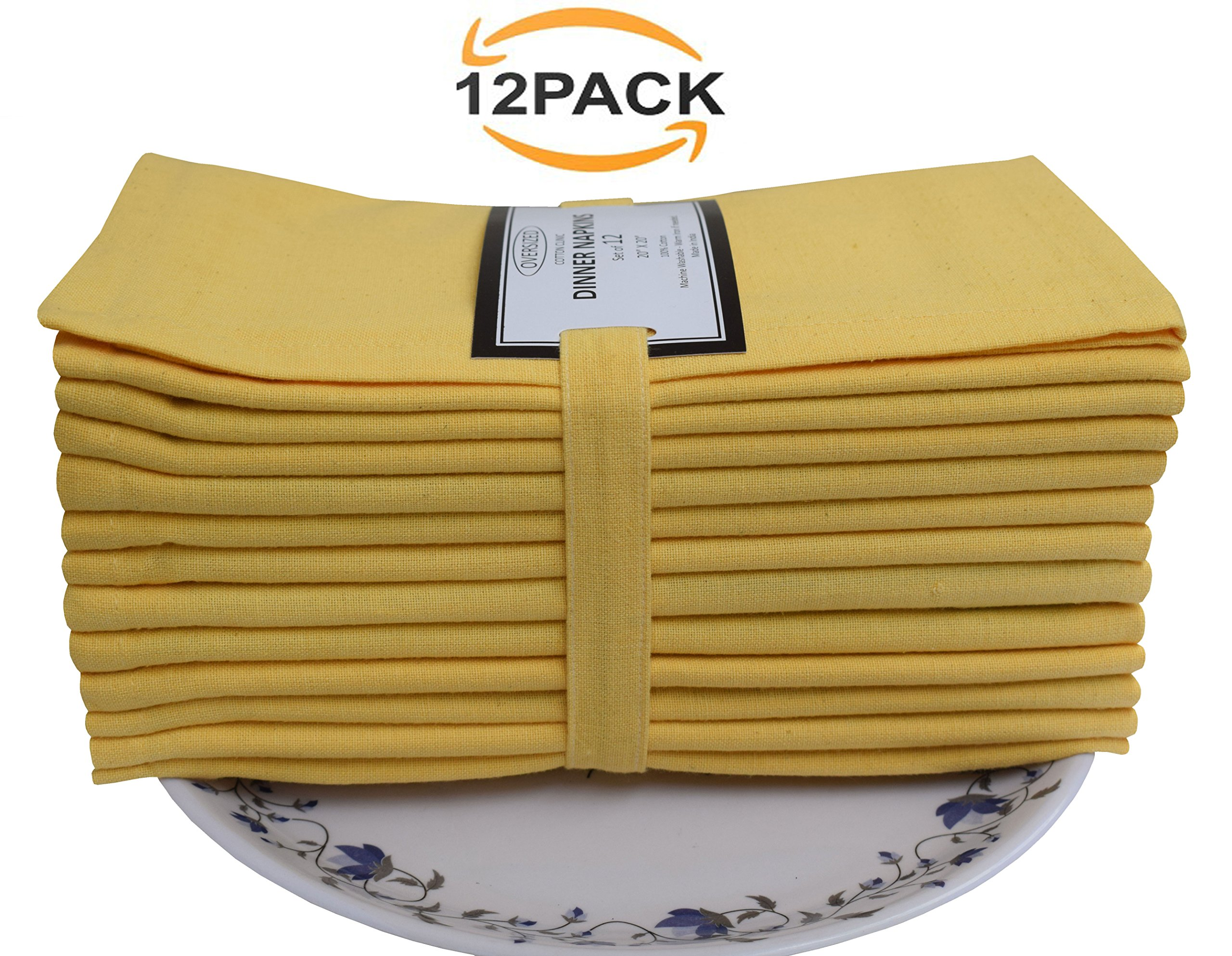 12 Pack Solid Dinner Napkins, Oversized, 20x20, Yellow Color, 100% Cotton, Cocktails Napkins, Decorative Napkins, Wedding Napkins, Tailored with mitered corners & generous hem, Machine Washable