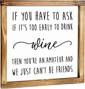 Wine Amateur Sign - Rustic Farmhouse Decor for the Home Sign -Wine Decor for Kitchen, Wall Decorations for Living Room, Modern Farmhouse Wall Decor, Funny Wine Sign with Solid Wood Frame - 12x12 Inch