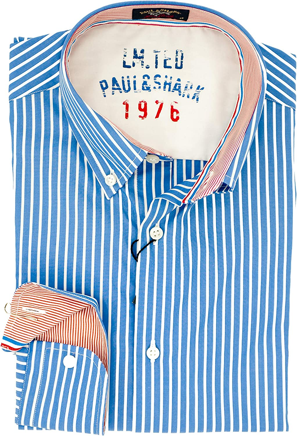 Camisa Paul&Shark Slim Fit Blu A Righe 41: Amazon.es: Ropa y accesorios
