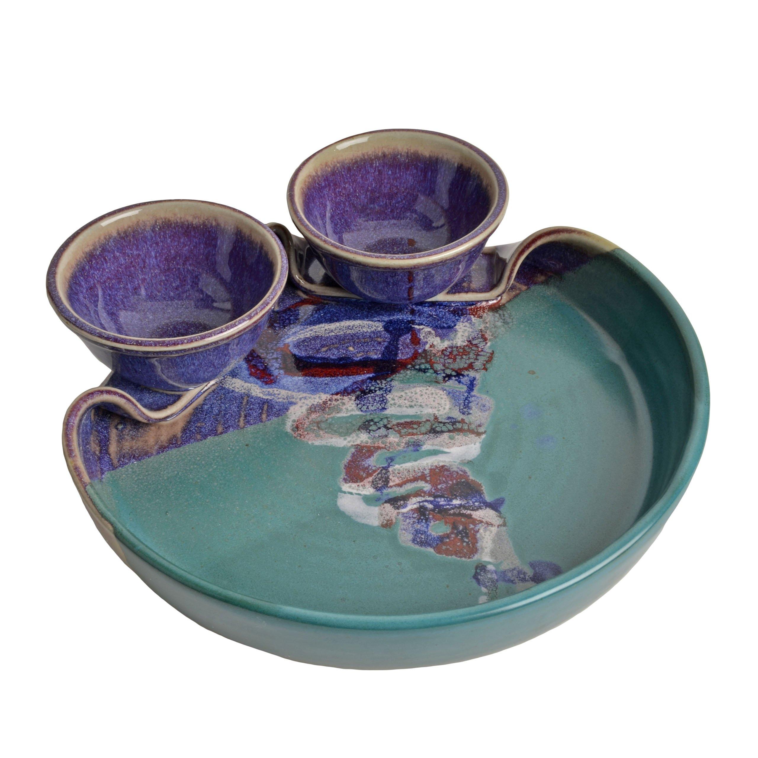 Larrabee Ceramics Double Bowl Chip and Dip Platter, Mauve/Green