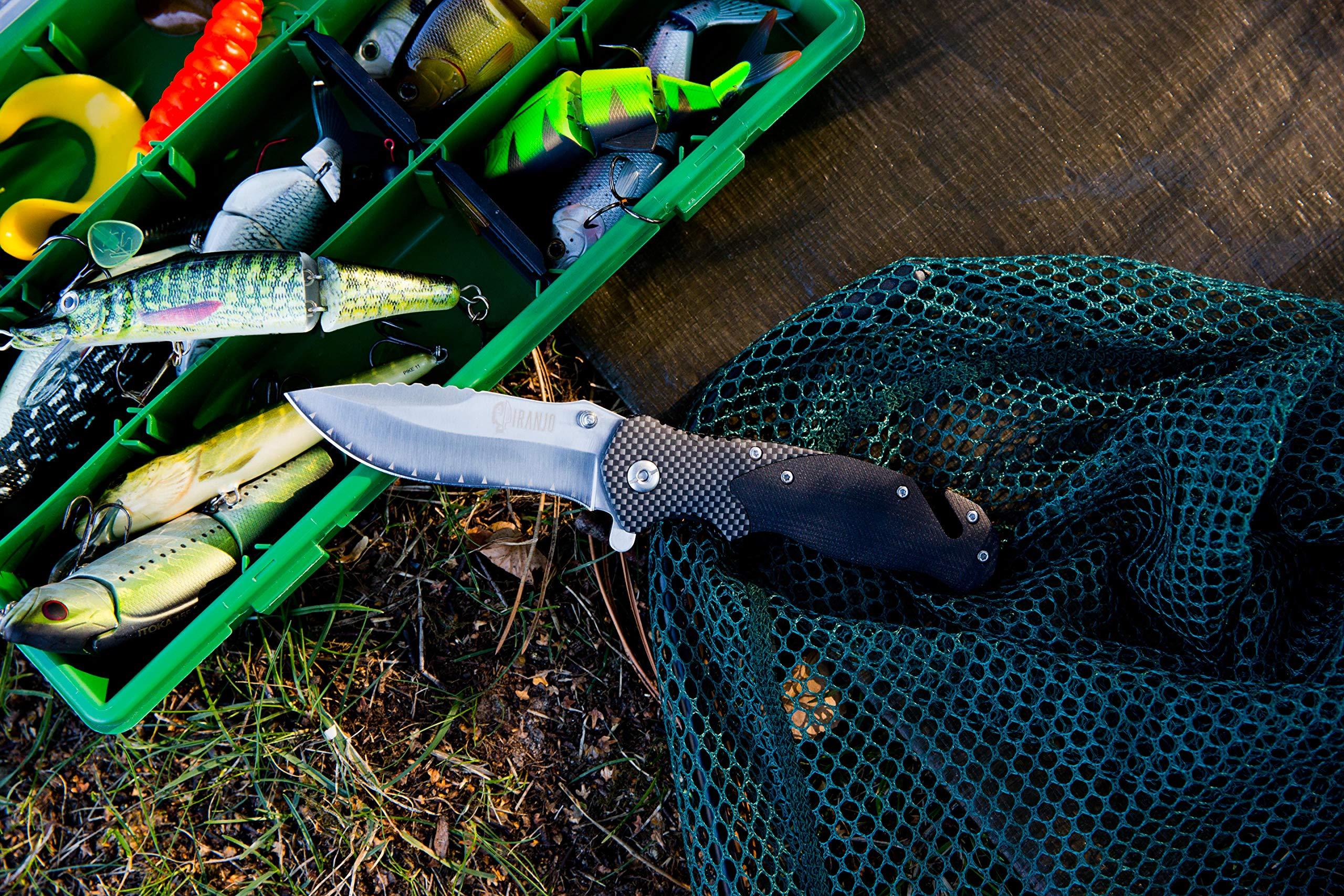 Piranjo Klappmesser Set - Sehr scharfes Outdoormesser im modernen Design - Incl. Schleifstein, Gürtelclip, Etui & Tuch - Taschenmesser - Das Perfekte scharfe Geschenk