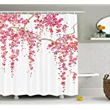Ambesonne House Decor Collection, Cherry Blossom Trees Branch Springtime Happy Vacation Traveling Destinations Image, Polyester Fabric Bathroom Shower Curtain, 84 Inches Extra Long, Lilac Salmon Coral
