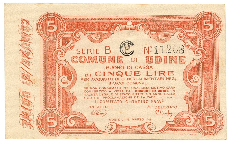 Cartamoneta  5 Lire Buono di Cassa Comune di Udine 12 03 1918 SUP+