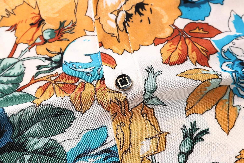 New Model Shirt Social Flower Casual Blouse Men Loose Summer Hawaiian Shirt