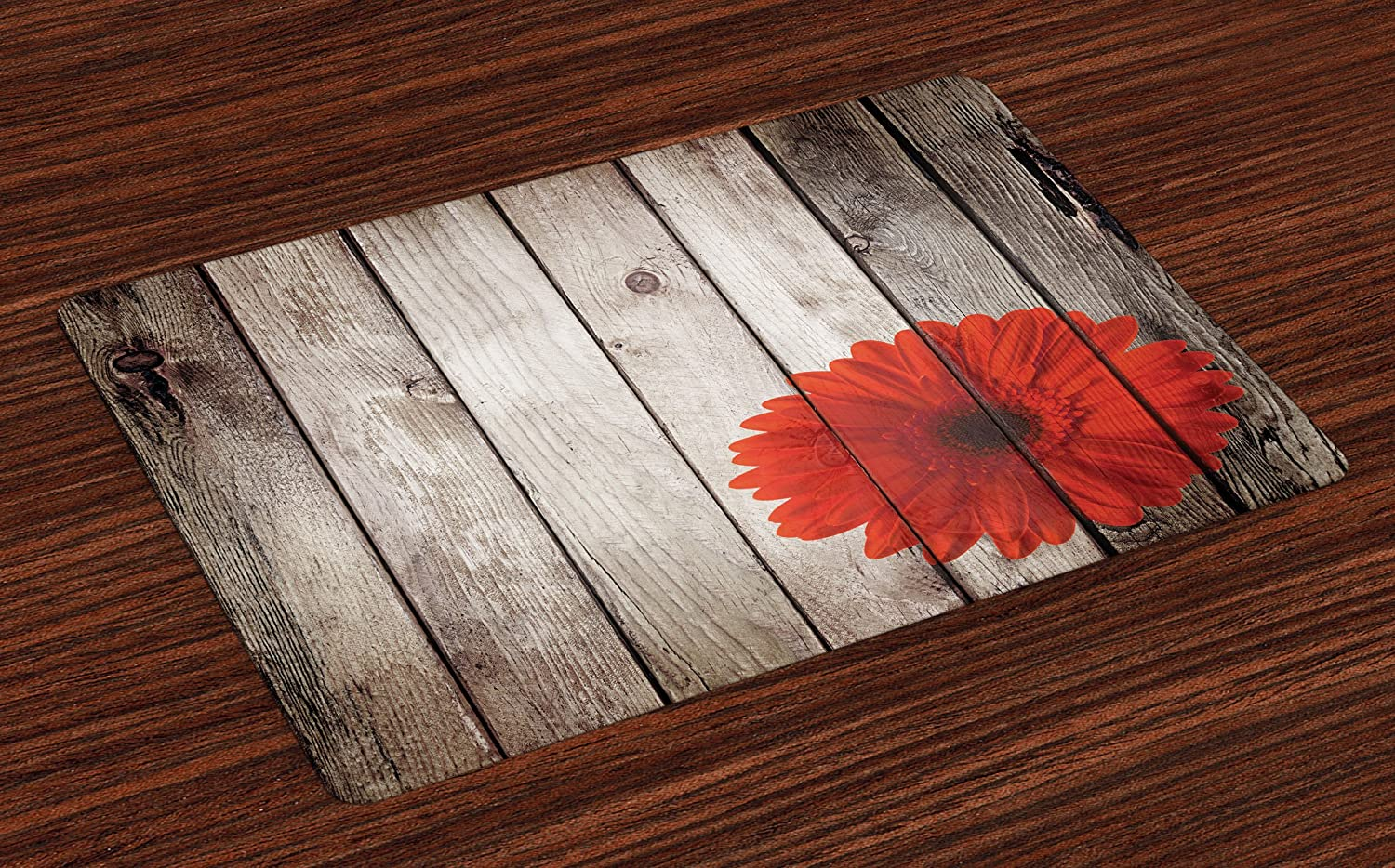 Lunarable Rustic Place Mats Set of 4, Flower Red Dahlia on Foreground of Murky Featured Dated Wooden Board Retro Art Print, Washable Fabric Placemats for Dining Room Kitchen Table Decoration, Brown
