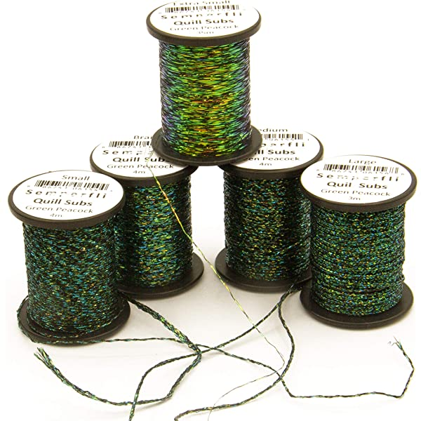 SemperFli Peacock Quill Subs Black//Green Range Fly Tying Materials Game Fishing