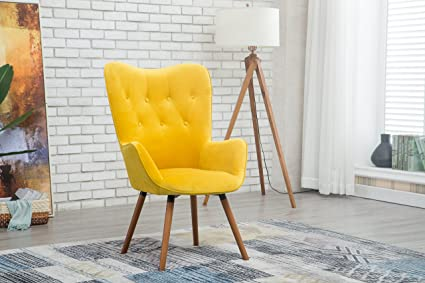 Delightful Roundhill Furniture AC155YL Doarnin Silky Velvet Tufted Button Accent Chair,  Yellow