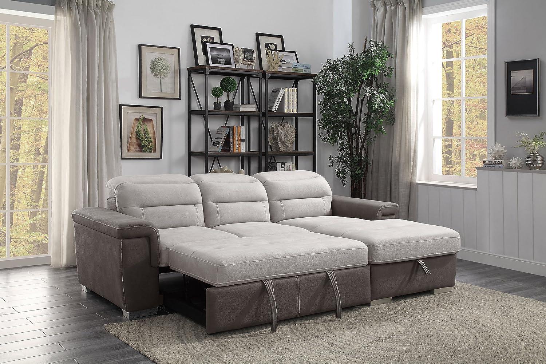 Homelegance Sleeper Sectional Sofa with Storage Blue
