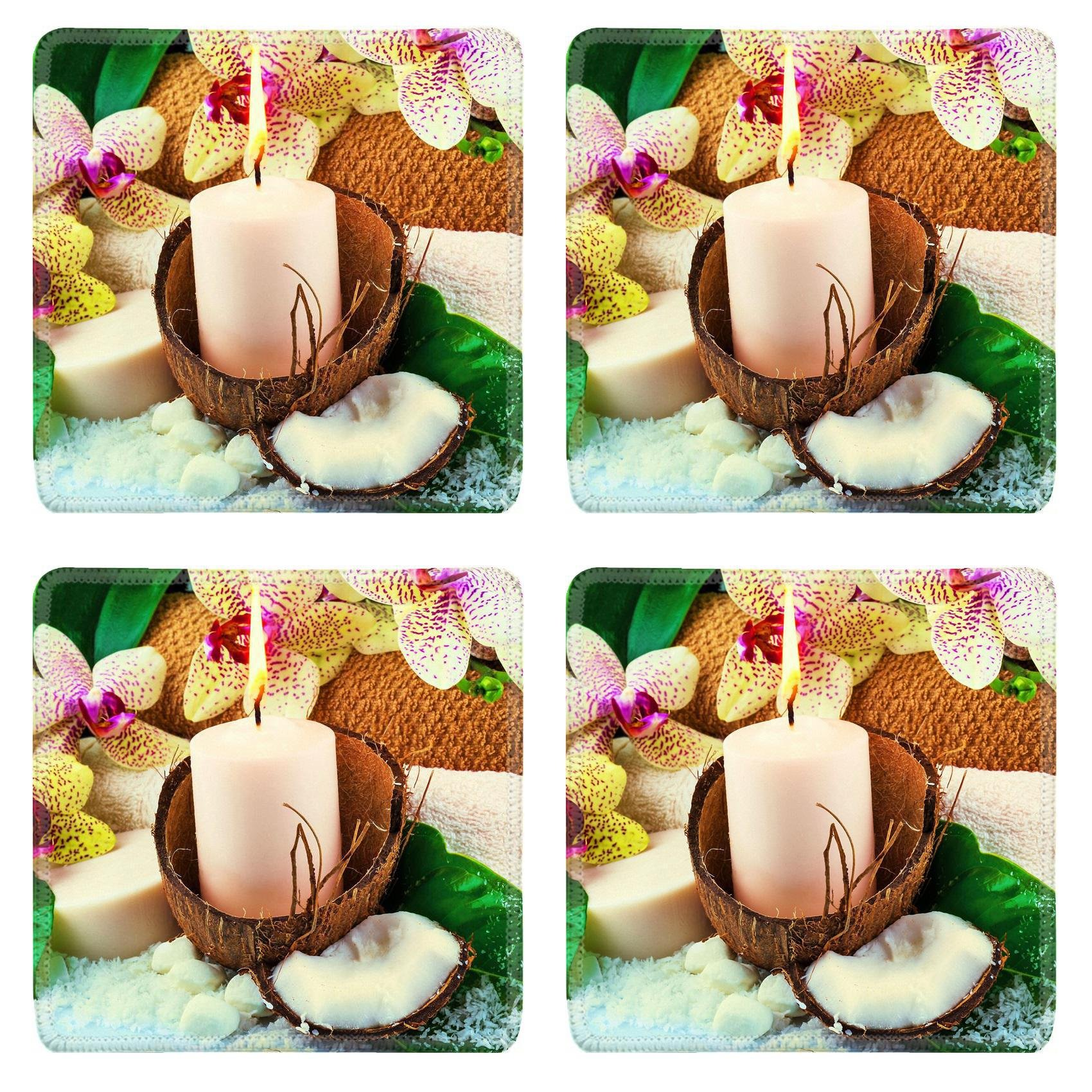 MSD Square Coasters Non-Slip Natural Rubber Desk Coasters design 25238941 Spa concept with candle coconut orchid towels soap green leaves