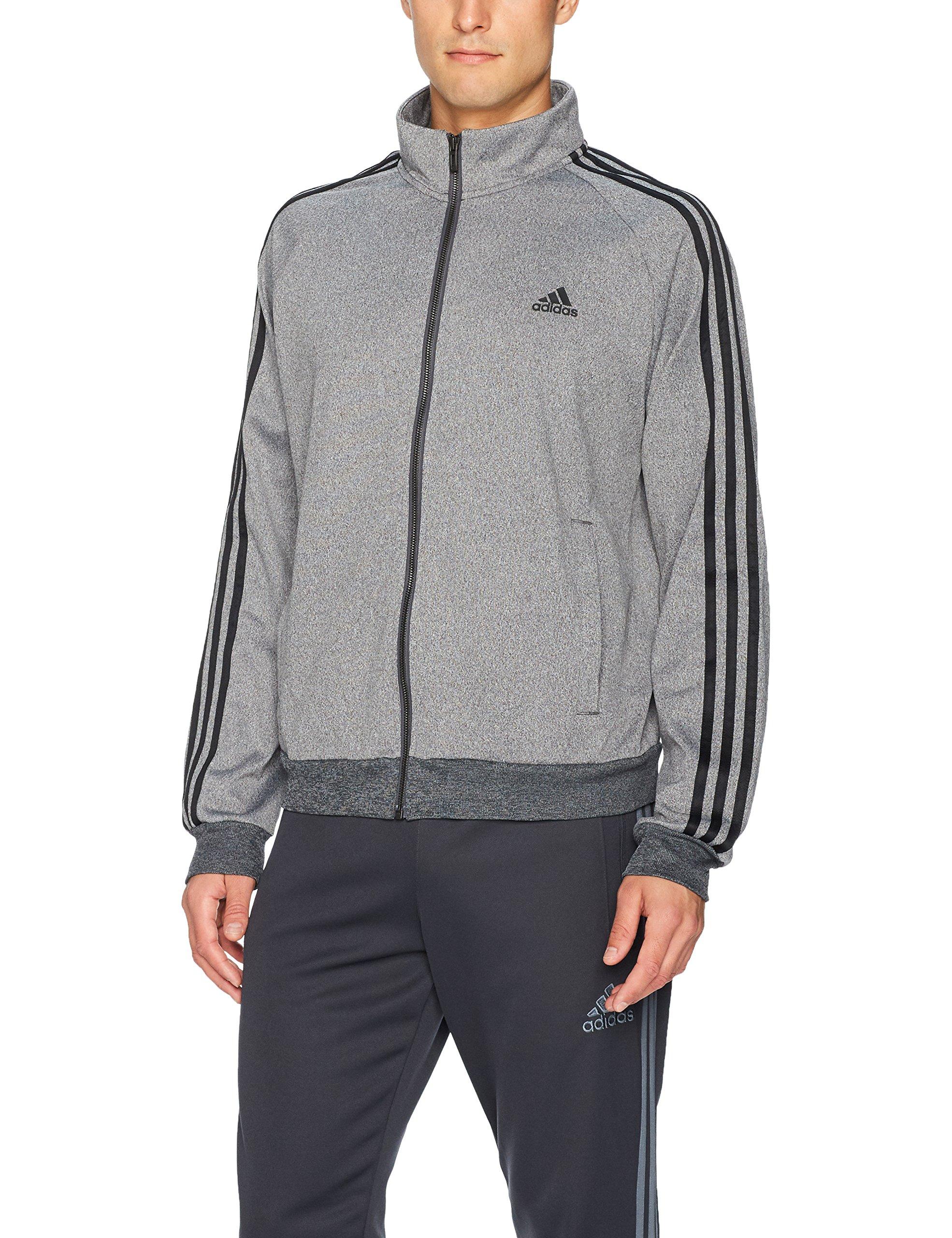 adidas Men's Essentials 3-Stripe Tricot Track Jacket, Dark Grey/Black, XX-Large by adidas