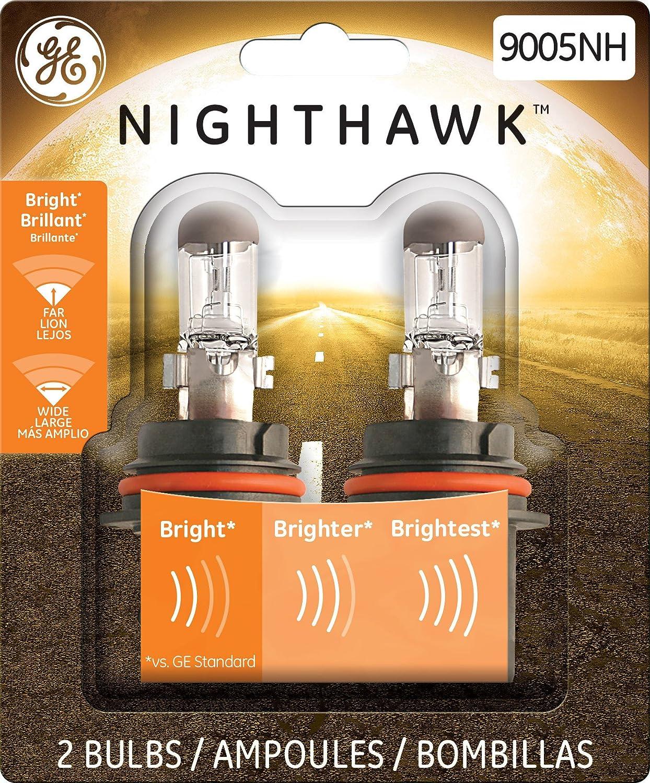 GE Lighting 9005NH/BP2 Nighthawk High-Beam Headlight Bulbs, 2-Pack