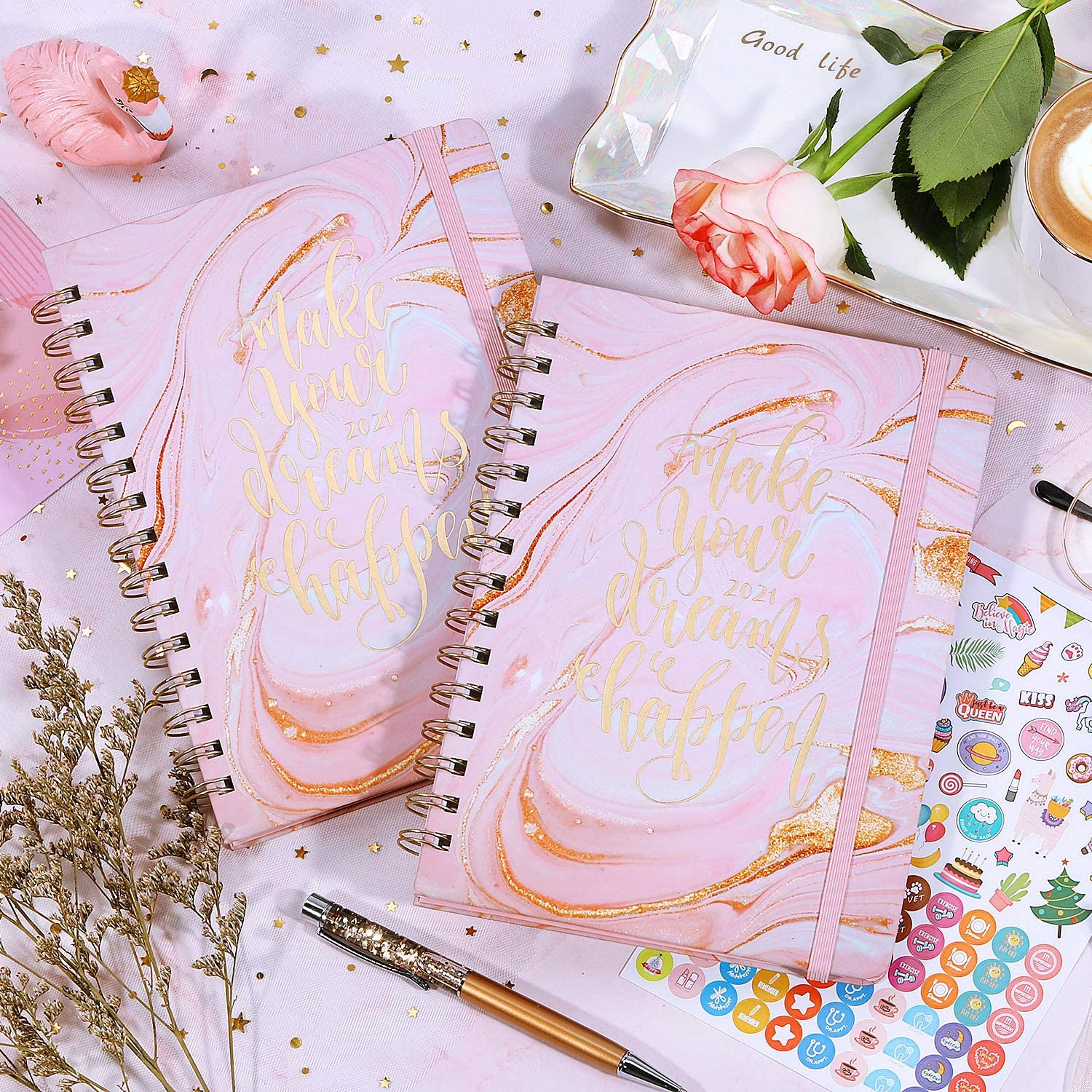 Weekly /& Monthly Planner with Tabs Planner 2021 Hardcover with Thick Paper 6.3 x 8.4 Back Pocket Pink Gilding Twin-Wire Binding Banded