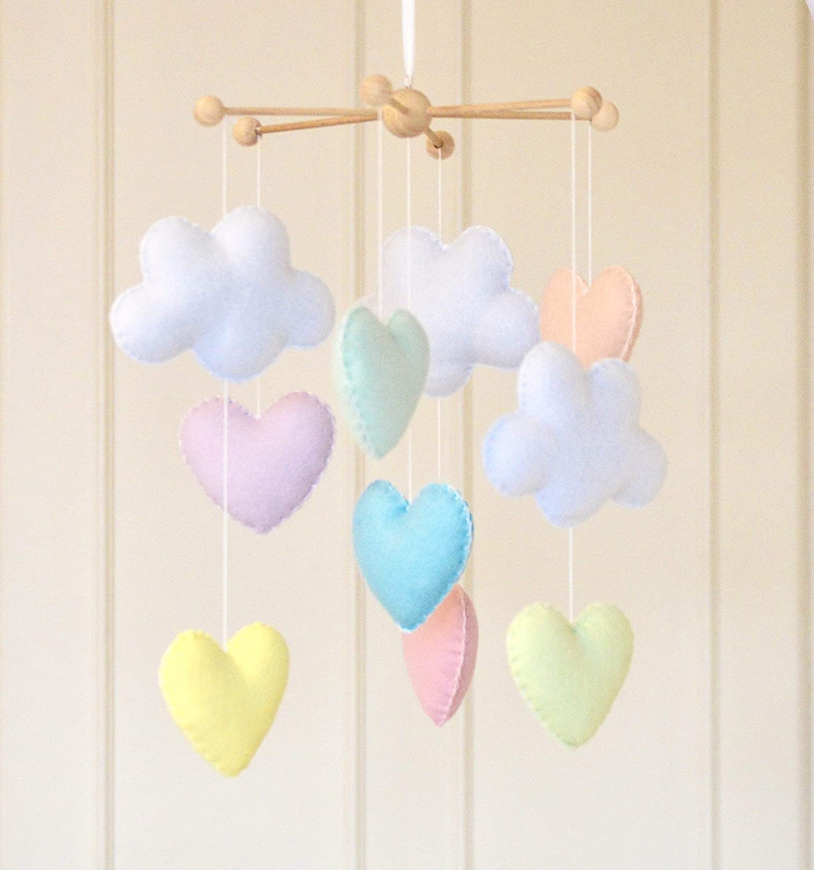 Pastel cloud rainbow raindrops hanging nursery mobile room decoration baby gift
