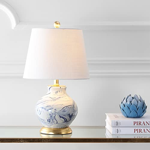 Jonathan Y 20.5 Marbleized Ceramic LED Table Lamp, Blue White, Modern, Bulb Included