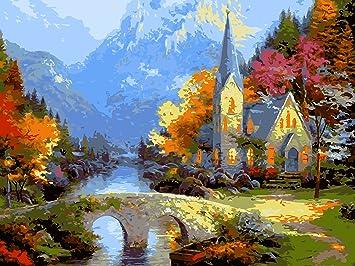 IPLST@ Senza cornice digitale dipinti ad olio da Numeri, paesaggio ...