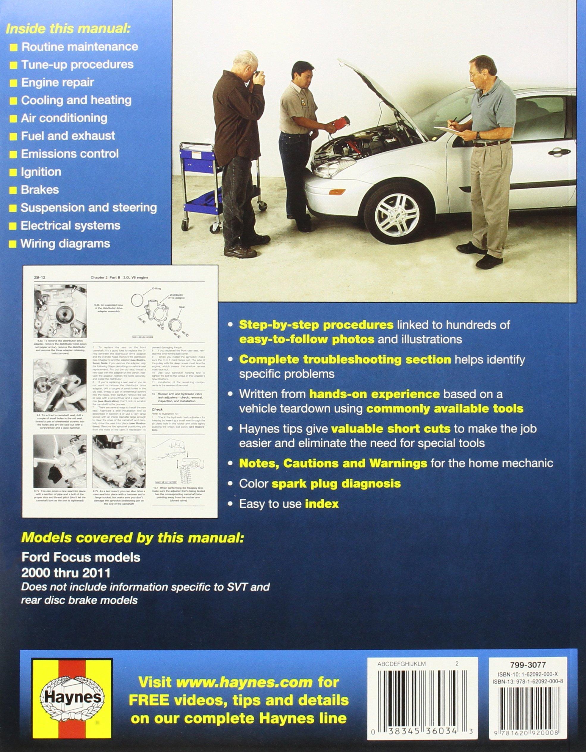 ford focus 2000 2011 haynes repair manual paperback amazon co rh amazon co uk