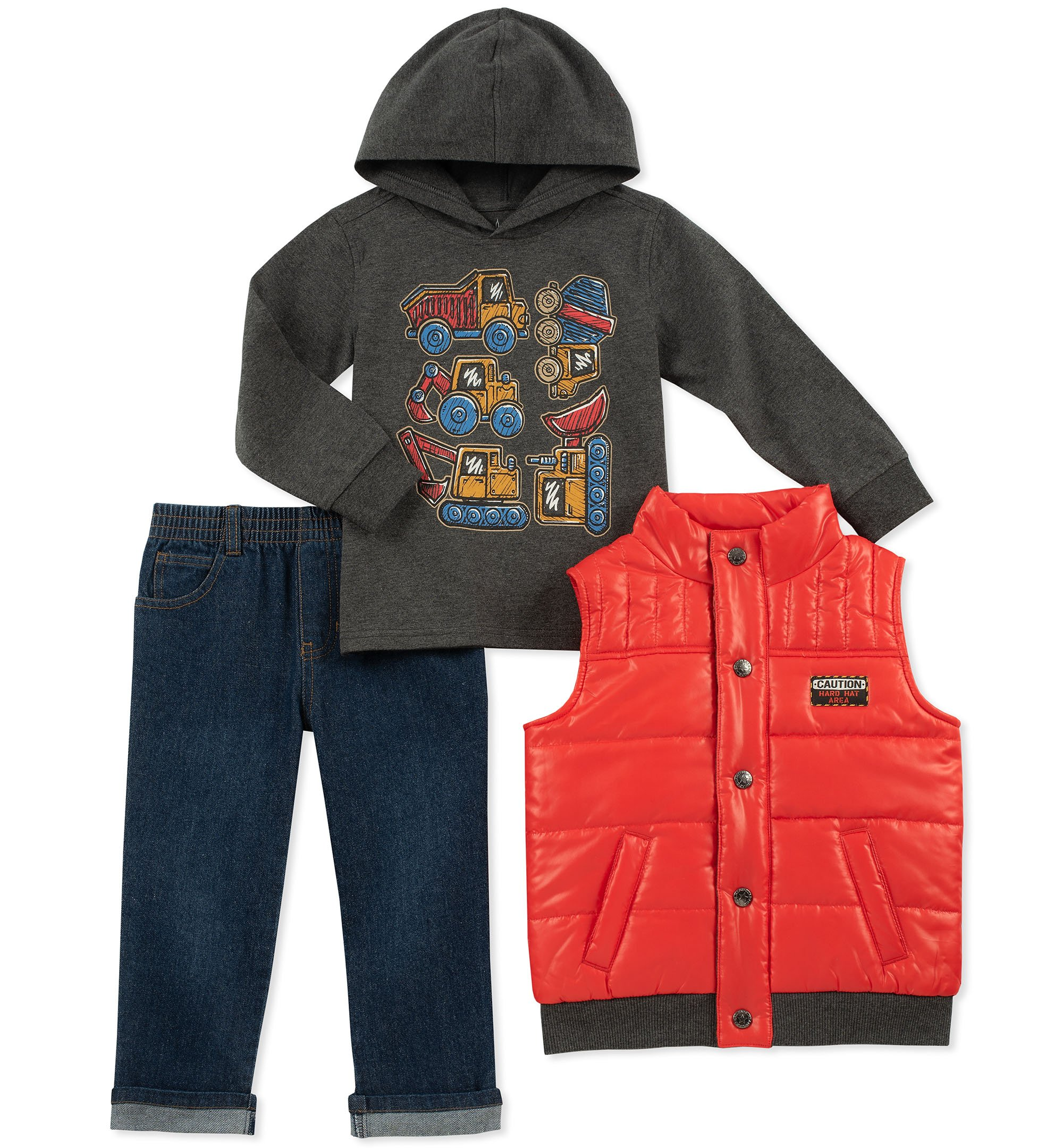 Kids Headquarters Boys' Little 3 Pieces Vest Set, Orange/Charcoal 7
