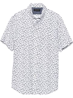 Banana Republic Mens Slim-Fit Soft Wash Short Sleeve Button Down Shirt White Diamond Printed