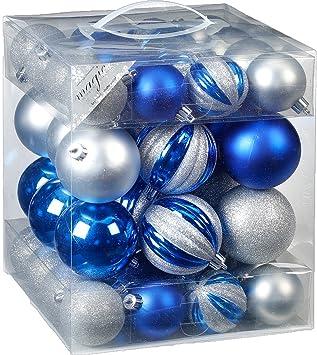Christbaumkugeln Blau.Magic 50 Christbaumkugeln 6cm U 8cm Box Blau Silber Bruchfest