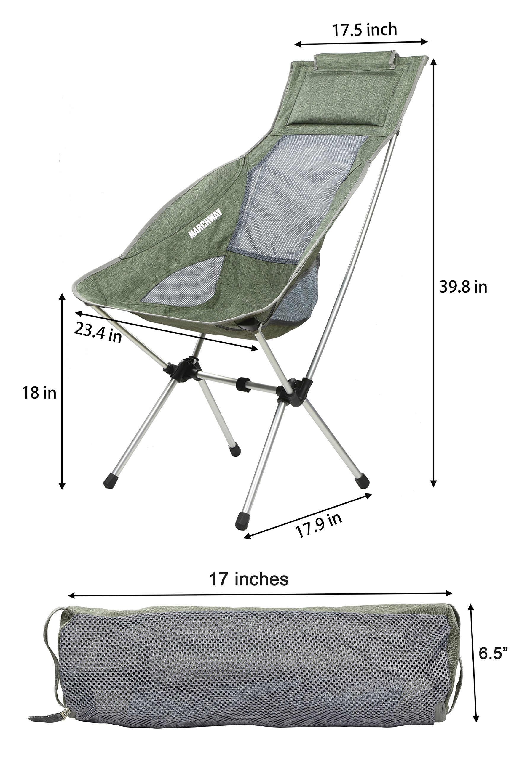 Ultralight High Back Folding Camping Chair With Headrest Outdoor Backpacking