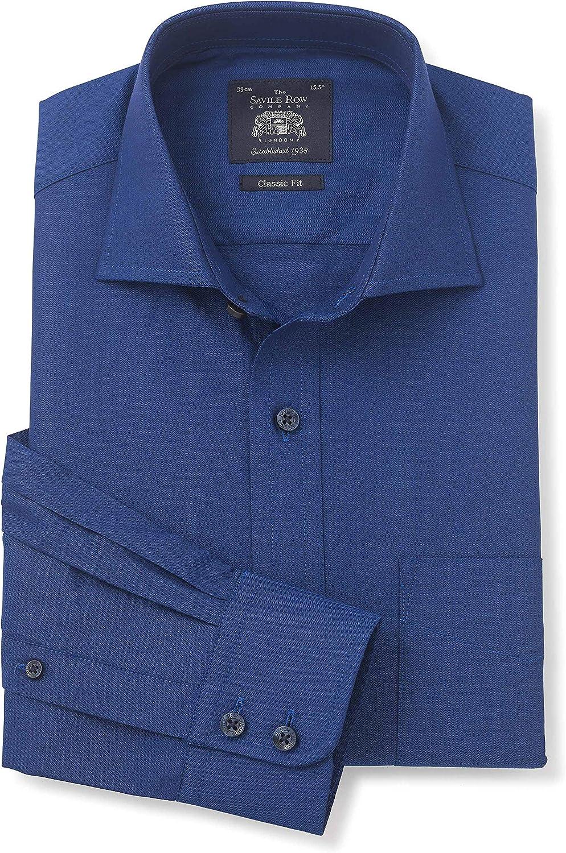Savile Row Mens Navy Herringbone Classic Fit Cutaway Collar ...