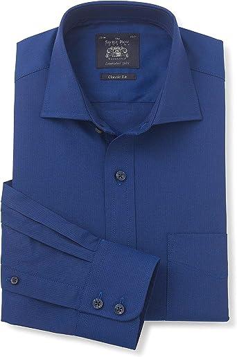 Savile Row Company - Camisa de Hombre con Cuello de espiguilla de Color Azul Marino, Ajuste clásico, puño único: Amazon.es: Ropa y accesorios