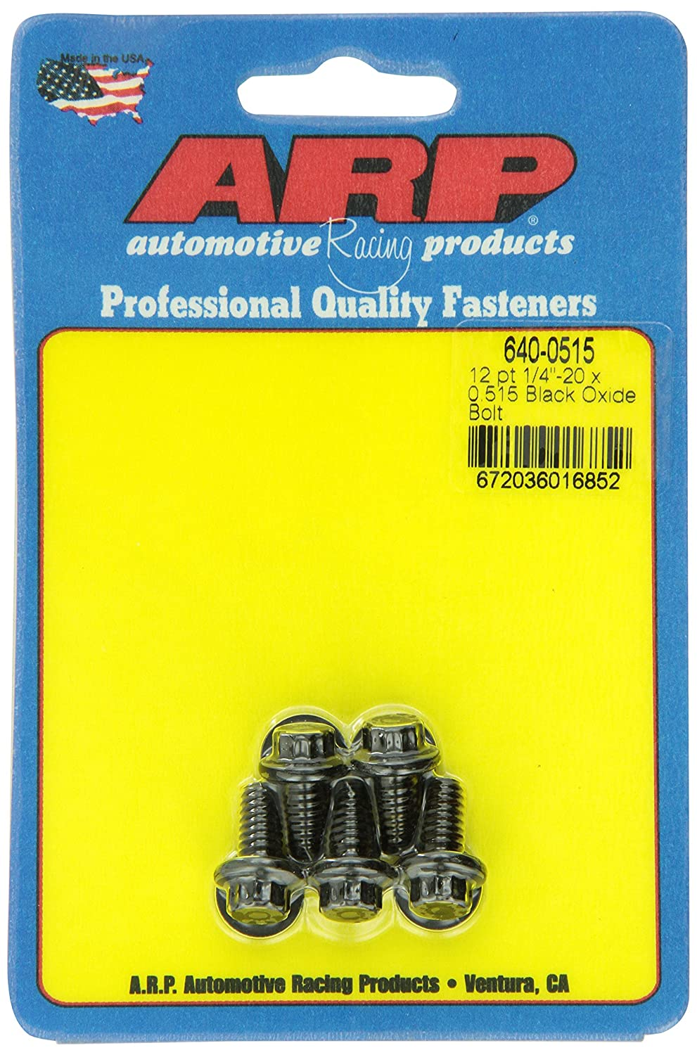 ARP 640-0515 Black Oxide 1/4-20' RH Thread 0.515' UHL 12-Point Bolt with 5/16' Socket and Washer, (Set of 5)