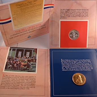 1993 S James Madison Bill Of Rights Proof Commem OGP 90/% Silver 2 Coin Set