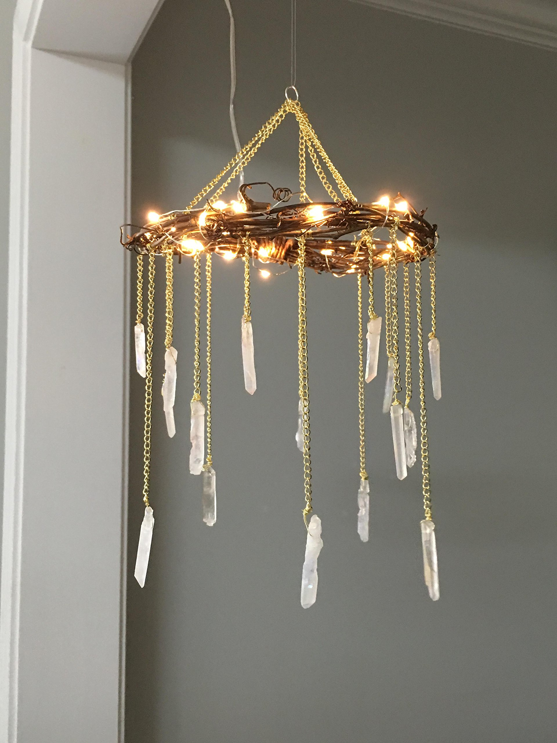 Full Size Handcrafted Natural Crystal Chandelier - Bohemian Room Chandelier by Blue Lotus Designs